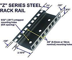18U steel server rack rail with 3/8″ square holes, 2U-45U, (Z18U)