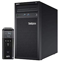 Lenovo ThinkSystem ST50 Tower Server Bundle Including APC BR1500MS 1500VA UPS, Intel Xeon 3.4GHz CPU, 32GB DDR4 2666MHz RAM, 6TB HDD Storage, JBOD RAID