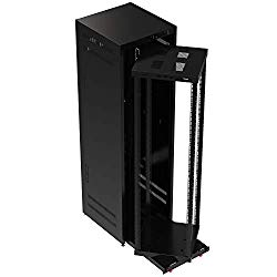 Sabrent 42U IT 19 Inch Black Server Cabinet with Locking Door and Pull-Out Drawer – Fully Assembled (CT-OPRS)